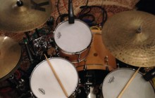The beautiful Gretsch kit I used in the studio.